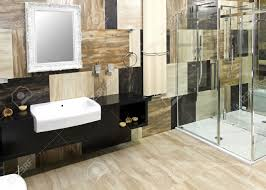 modern bathroom interior with collage marble tiles stock photo