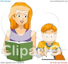 homework design studio clipart of a mother and son reading and doing homework royalty
