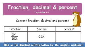 fraction percent decimal worksheets u0026 fractions decimals and