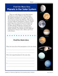 3rd or 4th grade main idea worksheet about planets