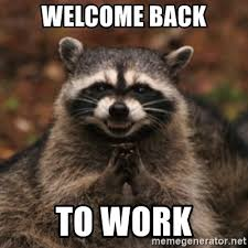 Welcome Back Meme - welcome back to work evil raccoon meme generator