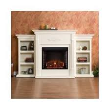 large electric fireplace mantel heater storage shelves bookcase