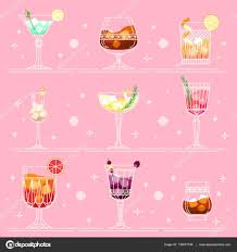 cocktails and alcohol drinks set in line art style on pink