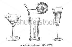 set sketch cocktails alcohol drinks vector stock vector 416452228
