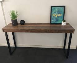 Metal Entry Table Recycled Timber Palings Industrial Table With Black Metal