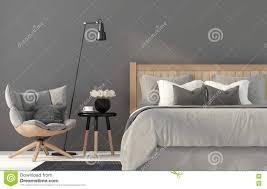 Schlafzimmerm El Betten Graues Schlafzimmer Mit Einem Hölzernen Bett Stock Abbildung
