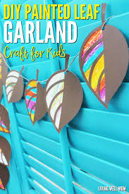 how to make a painted leaf garland with kids easy craft