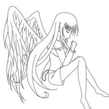 long haired chibi anime character coloring page coloring sky