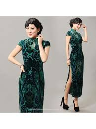 green silk velvet cap sleeve qipao modern cheongsam long chinese