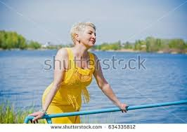 middle age women with blue hair woman middleaged european appearance blonde hair stock photo