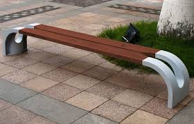 Outdoor Modern Bench Wood Metal Bench With Outdoor Area And Tile Flooring And Modern