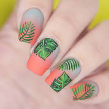 gray coral gradient nails with tropical leaf designs nail envy