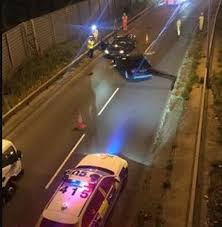 stolen car crashes into oncoming traffic before offenders run from
