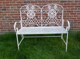 cream ornate folding metal 2 seater garden bench garden furniture