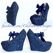 wedding shoes blue navy blue wedge glitter heels blue platform shoes wedding