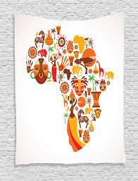 african tapestry wall hanging map with tribal icons home decor ebay