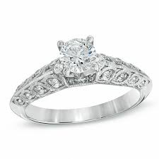 beveled engagement ring 5 8 ct t w diamond beveled edge engagement ring in 14k white