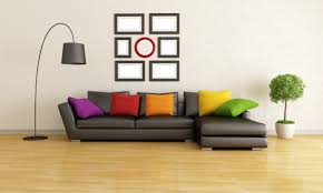 living room brilliant colorful pillows implemented in