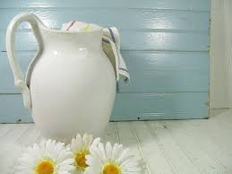 Shabby Chic Pottery by Broken White Pottery Pitcher Vintage Rain Bow Ceramic Oversized