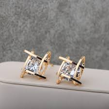 new fashion gold earrings new fashion jewelry brand design gold silver colors square luxurious
