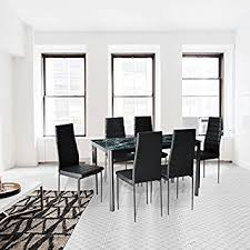 Dining Room Furniture Sets by Amazon Com 7 Piece Dining Table And Chair Set For 6 With Faux