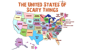 Map Of U Handy Map Of The United States Showing The Scariest Thing In Every