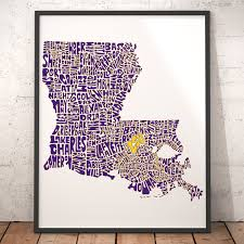 Lsu Map Lsu Fan Inspired Art Lsu Map Print Louisiana State University
