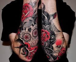 Forearm Skull - forearm sugar skull with roses and birds