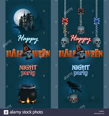 set of web banner halloween background with raven on top of skull