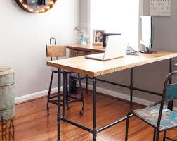 counter height work table urban wood l shape desk crafted of reclaimed wood with pipe