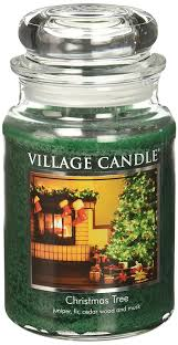 amazon com village candle christmas tree 26 oz glass jar scented