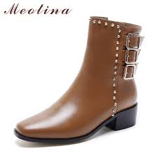 ladies ankle motorcycle boots aliexpress com buy meotina women genuine leather boots thick