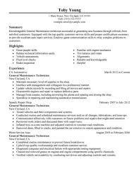 Automotive Technician Resume Examples by Job Wining Automotive Mechanic Resume Sample Displaying Summary