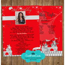 princess red silver xv anos invitaciones