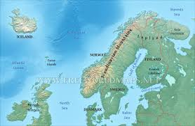 Iceland On Map Physical Map Of Scandinavia Norway Sweden Finnland Denmark