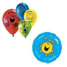 birthday balloons for men mr men balloons pack of twelve with ribbon by mr men party