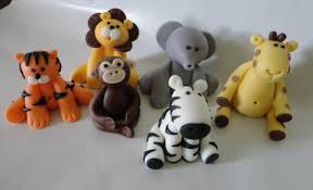 6 fondant safari jungle animal theme cake toppers