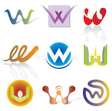 set of 9 abstract w letter icons decorative elements stock