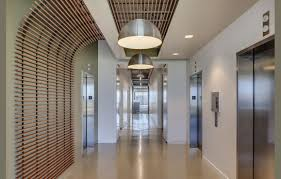 Wood Slat by Lobby And Or Corridor Armstrong Wood Slat Ceiling Turning Down To