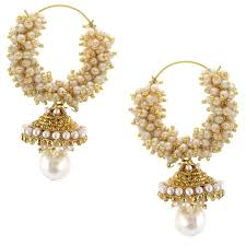 ear rings gold platted pearl hoop jhumka earrings