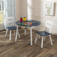 kidkraft round table and 2 chair set navy white