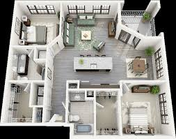 house designs thoughtskoto 50 3d floor plans lay out designs for 2 bedroom