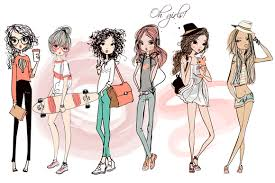 set with 6 fashion sketched girls 1 by eve farb on creativemarket