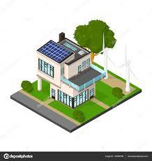 Energy House by Isometric Luxury Eco House With Renewable Energy U2014 Stock Vector