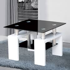 Kontrast Side Table In Black Glass And High Gloss White