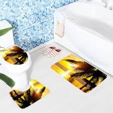 Palm Tree Bathroom Rug 3pcs Bathroom Mat Set Bora Sunset Palm Tree Bath Mat Non