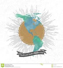 North And South America Map by North And South America Map With Vintage Style Stock Vector