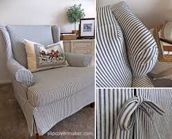 wingback chair slipcovers simple ticking slipcover for wingback chair the slipcover maker