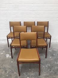 Teak Wood Dining Chairs Set Of 6 Mid Century Retro Solid Teak Wood Dining Chairs