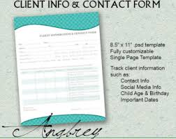 Client Information Sheet Template Client Information Contact Form For Photographers Client
